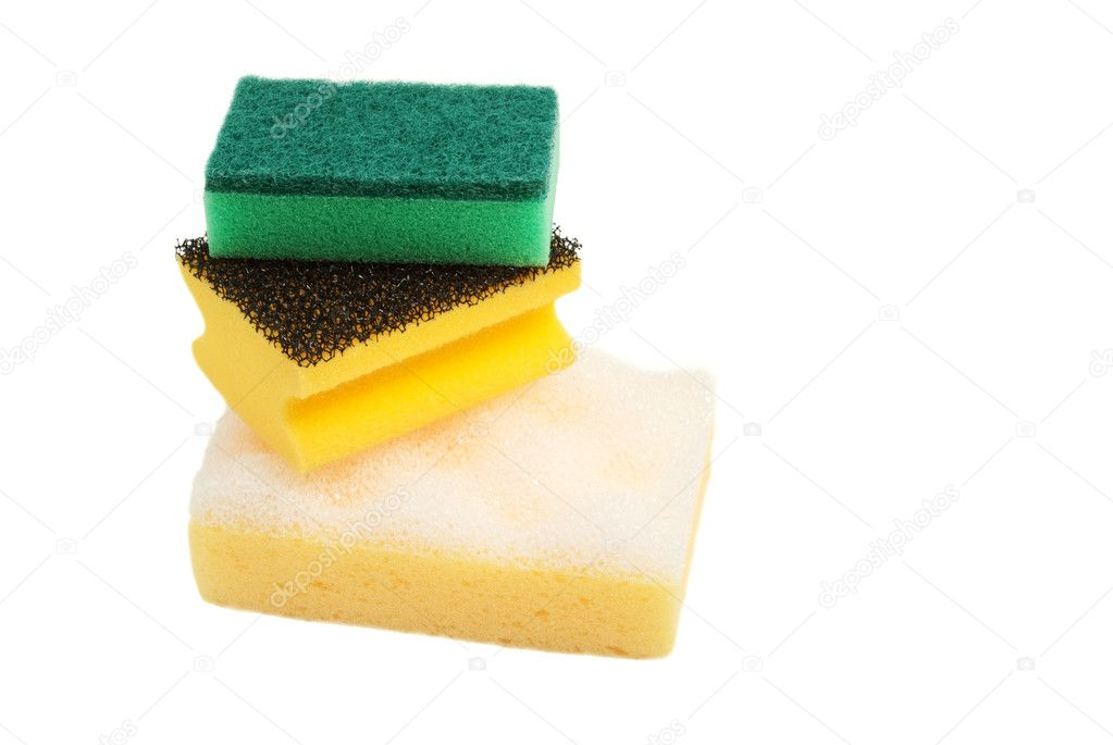 Three different sponges for washing of subjects. On a white background — Photo #9795228