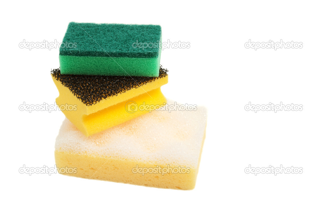 Three different sponges for washing of subjects. On a white background — Foto de Stock   #9795228