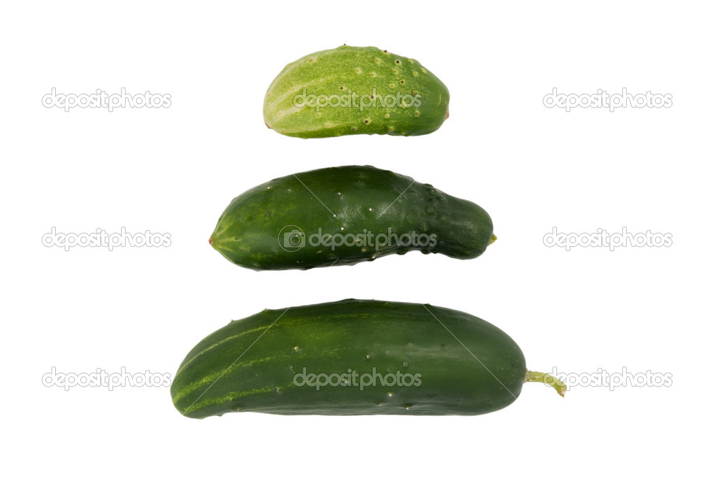Three various cucumbers on a white background — Stock Photo #9795254