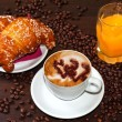 Stock Photo: Brioches e cappuccino and jus