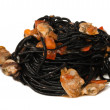 Spaghetti with cuttlefish ink — Stock Photo