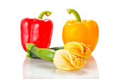 Squash blossoms and peppers — Stock Photo
