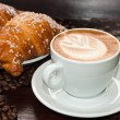 Stock Photo: Brioches e cappuccino