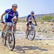 "Stock Photo: Extreme-Bardenas; bike ride through nature reserve of ""Bard"