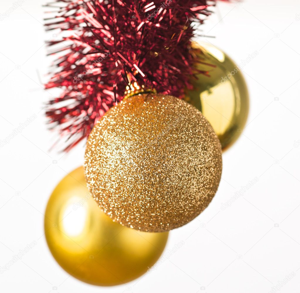 Christmas balls hanging from their belts ornament — Stock Photo #9918392