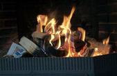 Fire in a fireplace — Foto Stock