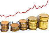 Wykres złote monety pokazuje wartość — Zdjęcie stockowe