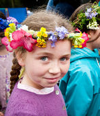 Young girl at May Day spring festival — Stock Photo