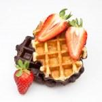 Waffles with fruit — Stock Photo