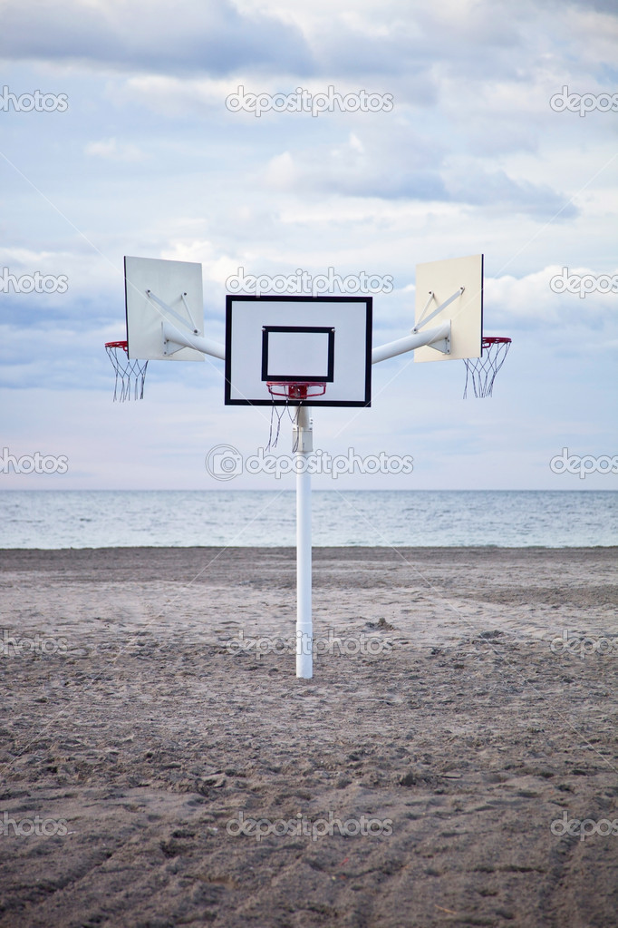 Three basketball hoops on the beach — Stock Photo #10155492