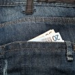 Euros saved in jeans pocket — Stock Photo #9764365