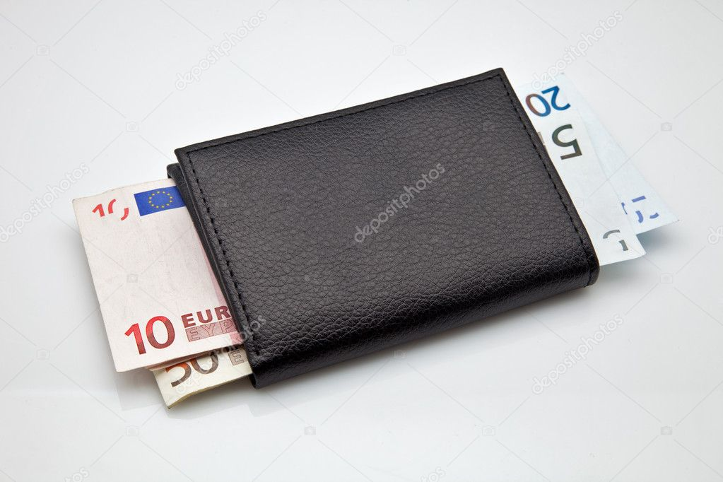 Black leather wallet with cash made — Stock Photo #9764438