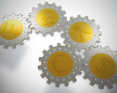 Cogwheel coins — Stock Photo
