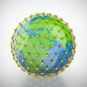 Earth in golden cage — Stock Photo
