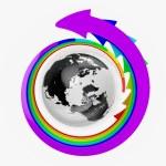 Earth with rainbow arrows — Stock Photo
