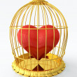 Heart in golden cage — Stock Photo