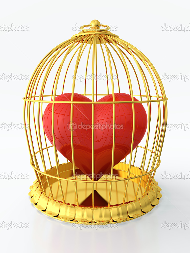 3D render of heart trapped in golden cage — Stock Photo #10714137
