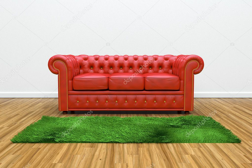3D render of red leather sofa and green carpet on wooden parquet. — Stock Photo #10715760