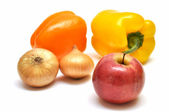 Vegetables and fruit on white background — Stock Photo