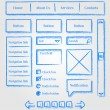 Website design sketch style kit - Stock Vector