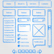 Website design sketch style kit — Stock Vector