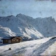 Illustration of two simple houses on a mountain in the central european alps on a freezing winter&amp;#039;s day - Stock Photo