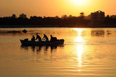 Fishermen in an egyptian lake — Stock Photo