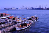 Large port at the mediterranean sea in egypt (port said) — Stock Photo