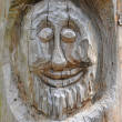 Smiley face carved into a tree — Stock Photo