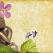 Lovely illustration depicting a buddha and floral elements with plenty of space for text — Stock Photo