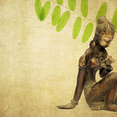 Lovely background image with statue of indian girl and flora. useful design element. — Stock Photo