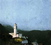 İsviçre alpleri'nde küçük bir kasabada güzel bir hıristiyan kilisesi — Stok fotoğraf