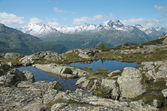 Alpine lake and panorama — Stock Photo