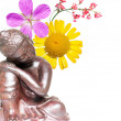 Lovely background image with indian sculpture and floral elements — Stock Photo