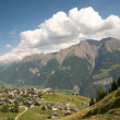 Valley in the swiss alps - Stock Photo