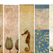 Lovely set of banners with earthy textures. useful design elements - Stock Photo