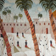 Beautiful egyptian carpet depicting rural village life - Stock Photo