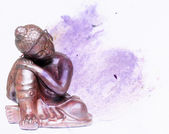 Colorful illustration featuring a buddha statue — Stock Photo