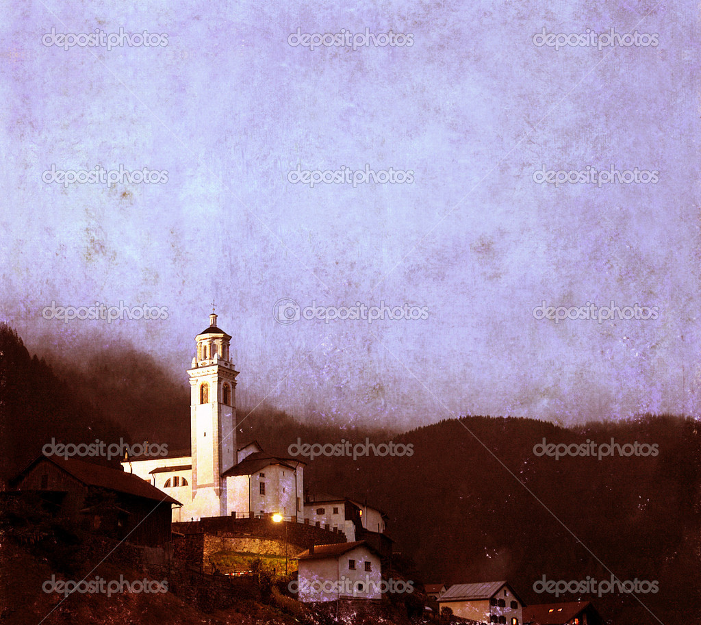 Lovely textured image of a swiss church at night time — Stock Photo #9957807