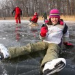 Fall on ice skates — Stock Photo