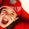 Stock Photo: Polish girl sports fan