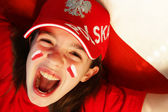Polish girl sports fan — Stock Photo