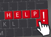 Keyboard with red key Help me — Stock Photo