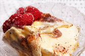 Delicious ice cream tiramisu with raspberries — Stock Photo