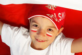 Polish boy sports fan — Stock Photo