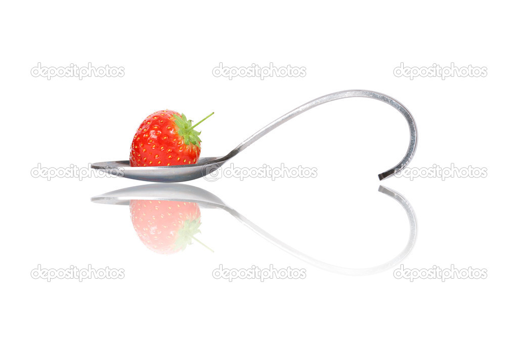 Strawberry on curved spoon with reflection make heart shape isolated on white  Stock Photo #10164471
