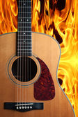 Guitar on fire — 图库照片