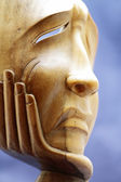 Wooden sculpture expresses the pain and disappointment — Stock Photo