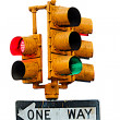 Traffic light - ONE WAY sign — Stock Photo