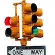 Stock Photo: Traffic light - ONE WAY sign